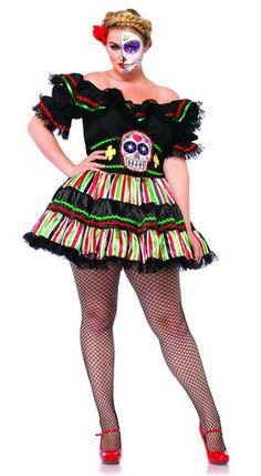 f4c9ea6caac Leg Avenue Women s Plus-Size 2 Piece Day Of The Dead Doll Costume