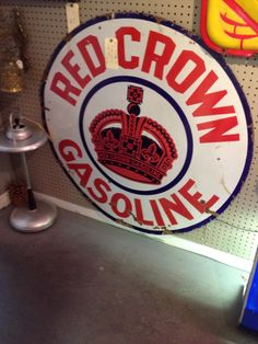 1920s Red Crown Porcelain sign! Excellent Condition!