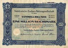 Süddeutsche Zucker-AG / Aktie 1.000.000 RM 1944 / Quelle Auktionen Reichsbankschatz