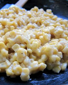 Mama's Skillet Corn: 3 cups corn, cut fresh from cob or frozen, 1/2 teaspoon salt, pepper to taste, 1 tablespoon sugar, 1/4 cup butter, 1/2 cup water, 1 tablespoon flour, 1/4 cup milk. Stir and heat! It's delish!