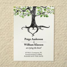 Wedding Save-the-Date - Rustic Woodland Tree - DIY Printable PDF Template - Green