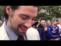 This guy got Nate Thompson from the Tampa Bay Lightning to tell his wife he loves her.  That's awesome!!