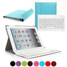 Coque pour iPad de couleur turquoise avec clavier bluetooth azerty