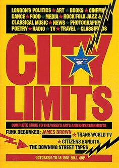 Via magCulture : David King's launch cover for City Limits British Magazines, Uk Magazines, Magazine Fonts, Magazine Design, World Tv, Creative Review, City Limits, James Brown, Arts And Entertainment