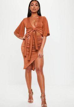 f5497e672a Rust Tie Waist Thigh Split Slinky Skirt