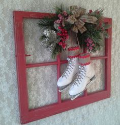 Christmas wreath, Window with Ice Skates, Swag Holiday Christmas Decoration, Red…
