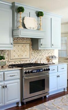 Cottage Décor ● Pale Blue Cabinets