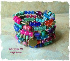 Boho Bracelet, Colorful Exotic Gypsy Bracelet, Boho Statement Bracelet, Layered Bracelet, Original Handmade, Boho Style, Kaye Kraus by BohoStyleMe on Etsy