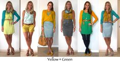 Outfit ideas: Yellow + Green