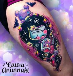 Adventure Time Tattoo 2 by Laura Anunnaki Gem Tattoo, Raven Tattoo, Color Tattoo, Time Tattoos, Body Art Tattoos, Sleeve Tattoos, Tatoos, Wicked Tattoos, Badass Tattoos