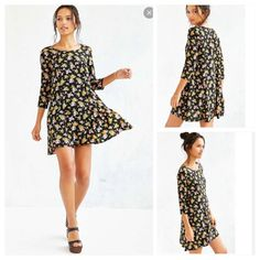 Urban Outfitters KB Voluminous Floral Dress Urban Outfitters Voluminous Floral Dress Easy breezy swingy dress from the feminine experts at Kimchi Blue. Relaxed-fit pull-on silhouette cut short complete with 3/4 sleeves and a crew-neck.   Content + Care  - Rayon  - Machine wash  - Imported Urban Outfitters Dresses Mini
