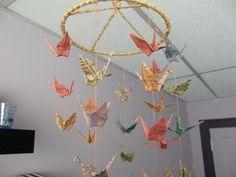 Origami Circular Coil 36 Paper Crane Mobile  by PullingPetals, $35.00