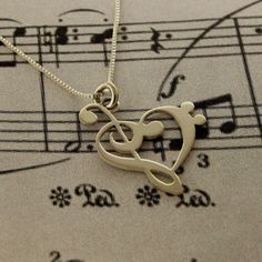 G clef bass clef heart Necklace BRIGHT SATIN FINISH silver music note Treble clef Pendant charm necklace music note necklace Hear Clef Music Jewelry, Cute Jewelry, Jewelry Accessories, Etsy Jewelry, Jewelry Rings, Jewlery, Pandora Jewelry, Jewelry Stores, Jewelry Design