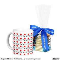 Hugs and Kisses Red Hearts Valentines Day Gift Classic White Coffee Mug