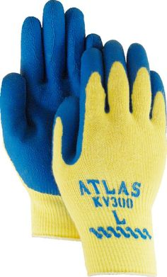 Majestic 3386 Atlas Kevlar Knit Gloves Tuff Blue Latex Palm Dipped Yellow Shell (DOZEN)