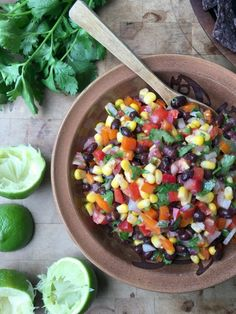 Sweet Pepper Black Bean Salsa is great eaten like a dip with tortilla chips or added to quesadillas, tacos and fajitas. The bright flavours of lime & cilantro give it a delicious lift. Gluten Free Appetizers, Appetizer Recipes, Mexican Food Recipes, Whole Food Recipes, Ethnic Recipes, Dairy Free Recipes, Vegan Gluten Free, Black Bean Salsa, Stuffed Sweet Peppers