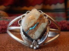 Boulder turquoise Colorado  ribbon turquoise sterling silver  cuff bracelet native american jewelry southwest jewelry by LittleCherokeeValley on Etsy