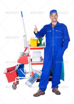 Portrait Of Smiling Cleaner ... adult, background, blue, broom, brush, bucket, business, cap, cart, casual, caucasian, cheerful, cleaner, cleaning, domestic, dress, dust, dusty, gesture, hand, handsome, home, house, housemaid, housework, hygiene, isolated, janitor, male, man, mop, occupation, people, person, pocket, purity, rag, service, smile, thumbs, uniform, up, washing, white, worker, working, young