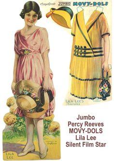 1920 Jumbo Movy Dols, painted Lila Lee, silent film star. Artist-Percy Reeves.