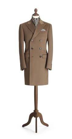 Camel Short Double Breasted Coat - Crombie