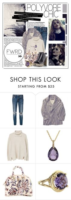 """""""Untitled #10334"""" by queenrachietemplateaddict ❤ liked on Polyvore featuring moussy, Zara, MANGO, Kate Spade, Tory Burch, Vintage, Fratelli Karida, purple, denim and Sweater"""