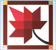 Red Leaf Barn Quilt - 2 foot square