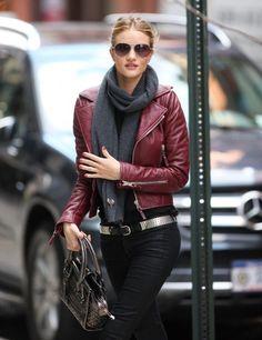 Rosie Huntington-Whiteley - burgundy leather jacket