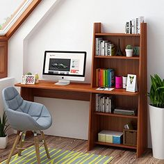 """Tribesigns Writing Desk with Bookshelf, 59"""" Wooden Computer Desk Study Table Workstation for Home Office, Adjustable Bookcase Design. [Spacious Workspace]-59.05""""(L) x 18.89""""(W) x 29.52""""(H), provides large space for working, writing, studying or using a laptop, exclusive prepared cable holes good for adorning while using an all-in-one computer. [Adjustable and Flexible Space]-With the adjustable shelf tier design, it is perfect for you to adjust the height and meet your requirement, keep…"""