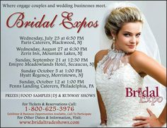 Check out the calendar of bridal shows by #BridalExpo around New Jersey this summer and fall season! www.bridaltradeshows.com