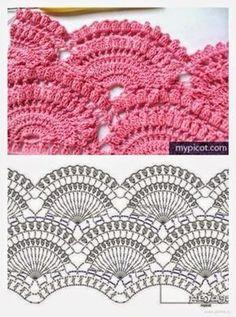 Marvelous Crochet A Shell Stitch Purse Bag Ideas. Wonderful Crochet A Shell Stitch Purse Bag Ideas. Crochet Borders, Crochet Diagram, Crochet Stitches Patterns, Crochet Chart, Crochet Motif, Stitch Patterns, Knitting Patterns, Crochet Top, Crochet Flowers