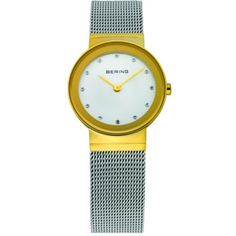 Bering Ladies Stainless Steel Yellow Gold Plate Case Silver Dial Swarovski Crystal/ Sapphire Crystal Glass Mirror Border Mesh Band 50M