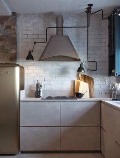 Кухня в цветах: черный, серый, светло-серый, белый, бежевый. Кухня в стиле лофт.