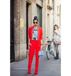 outfit, red, suit, t shirt, blazer