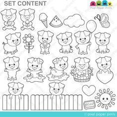 Alice in Wonderland Part 2 - Digital Stamps - Clipart Tarjetas Stampin Up, Cute Piglets, Doodles, Photoshop Elements, Digital Stamps, Alice In Wonderland, Coloring Pages, Paper Crafts, Clip Art