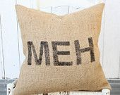 "MEH Burlap & Chevron 18"" Hand Painted Pillow Cover"