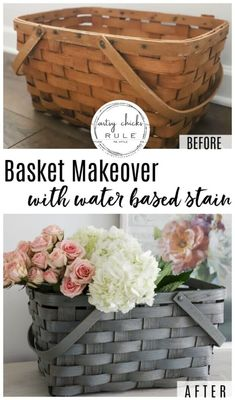 Basket Makeover For Spring (with water based stain) - Water based stain is so simple to use. It's a no brainer for things like this old, orangey basket - Home Crafts, Diy Home Decor, Diy Crafts, Fall Crafts, Christmas Crafts, Christmas Tree, Painted Baskets, Wood Basket, Wicker Picnic Basket