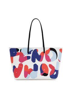 Fendi Roma Roll Tote Bag, White by Fendi at Neiman Marcus.