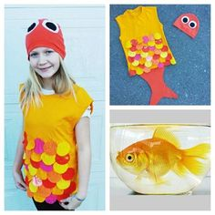 Upcycled Steampunk Clothing, Gold Fish Costume - Upcycled Orange and Yellow T-Shirt and Headpiece, The Little Mermaid  Endure Upcycled Designs by Karen Yaremkewich Handmade Locally ~ One-of-a-Kind ~ Eco-friendly  This listing is for ONE Youth Medium Costume  The Little Mermaid (Danish: Den lille havfrue, literally: the little sea lady) is a very well known fairy tale by the Danish author Hans Christian Andersen about a young mermaid willing to give up her life in the sea and her identity as…