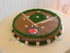 Coolest Baseball Field Cake... This website is the Pinterest of birthday cake ideas