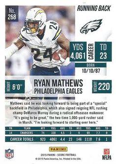2015 Score #268 Ryan Mathews Back