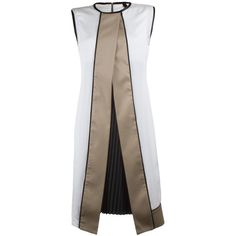Trinity Dress - Ivory (€345) ❤ liked on Polyvore featuring dresses, платья, jackets, knee-length dresses, pleated dress, exposed zipper dress, shift dress and geometric shift dress