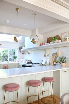 Renovation Complete: The Reveal of Our Green Pink and Gold Kitchen - Swoon Worthy. I love lightness and airy feel of this kitchen with the white, pink, gold and green. Green Kitchen, New Kitchen, Kitchen Dining, Kitchen Island, Kitchen Ideas, 10x10 Kitchen, Awesome Kitchen, Kitchen Hacks, Romantic Kitchen