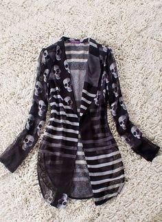 $57.60 Black Striped and Skull Print Curve Hem Sheer Long Sleeve Suit