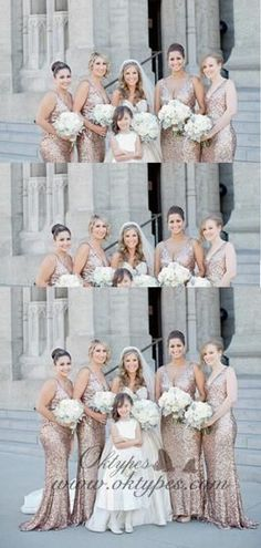 Sparkly Mermaid V-Neck Long Rose Gold Sequined Bridesmaid Dresses, Pink Bridesmaid Dresses Uk, Different Bridesmaid Dresses, Bridesmaid Outfit, Modest Wedding Dresses, Wedding Gowns, Long Dresses, Wedding Bouquets, Bridesmaids, The Dress