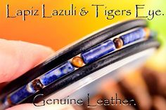 2B-899 Sterling Silver, Lapiz Lazuli, Tiger Eye & Leather Wristband Men Bracelet
