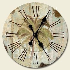 Beach Palm Tree Tropical Decor Decorative Wood Wall Clock