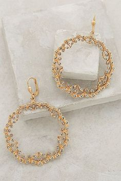at Anthropologie Filigree Garland Hoops in gold Gold Jewelry, Jewelry Box, Jewelry Accessories, Fashion Accessories, Fashion Jewelry, Women Accessories, Jewlery, Bling Bling, Estilo Glamour