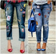 Embroidery patches on denim- Stripes and embroidery outfit ideas – Just Trendy Girls