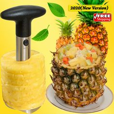 2020 Juicy Bites Pineapple Slicer New Stainless steel Fruit corer Easy Cutter Pineapple Slicer, Fruit Stands, Stainless Steel, Easy, Food, Kid, Essen, Meals, Yemek