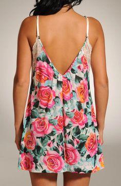OnGossamer Rose Garden Swing Nightie with Lace